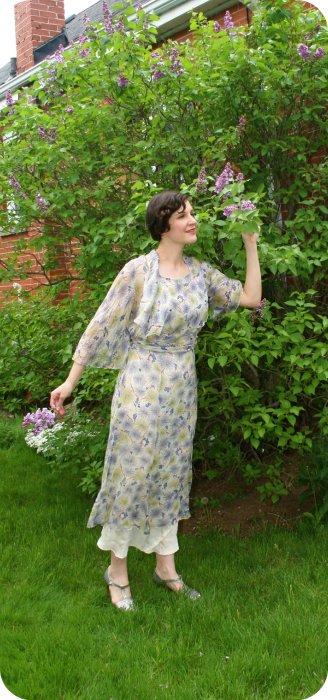 1930s silk chiffon gown
