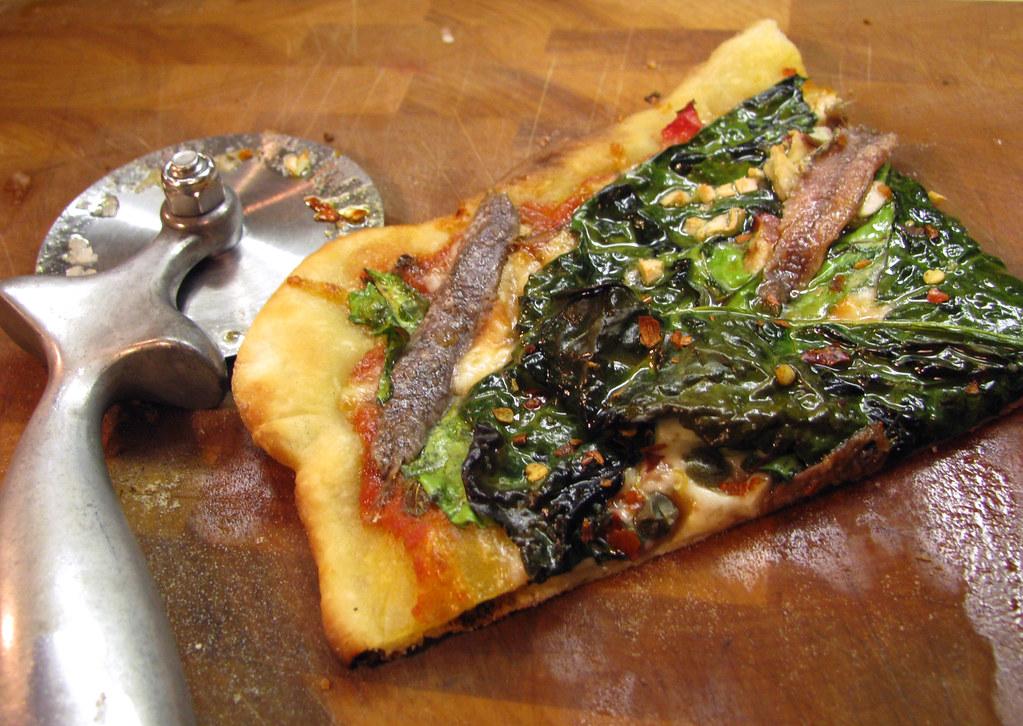kale & briny bits pizza