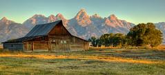 Another Moulton Barn Morning (Jeff Clow) Tags: ranch mountains rural landscape bravo western grandtetonnationalpark supershot jacksonholewyoming moultonbarn
