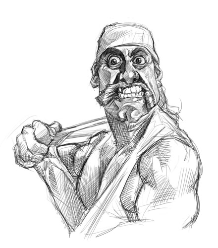 digital sketch of Hulk Hogan - 4