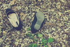Lost and found (dimplyemily) Tags: leaves shoes ground flats dirt lostandfound twigs emilyhuang