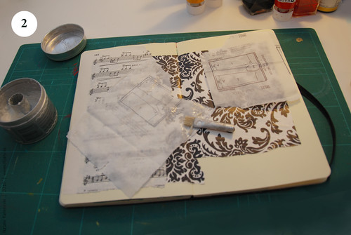 Artbook background with acryl, Step 2