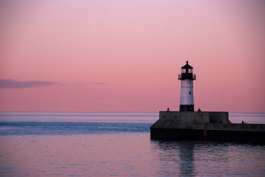 lighthouse on pink