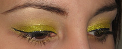 Sparkle Lemon (AxSDenied) Tags: brown black yellow glitter gold shiny bright makeup sparkle mineral cosmetics eyeshadow winged glittery rimmel eotd aromaleigh