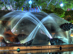 symphony (paul bica) Tags: park city trees light art tourism nature water fountain newcastle outdoors evening downtown cityhall au australia explore nsw newsouthwales streams frontpage dex downunder kingst civictheatre civicpark captaincookmemorialfountain dexxus