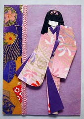 ATC309 - Pink and purple (tengds) Tags: pink atc purple kimono obi ribbon origamipaper papercraft japanesepaper washi handmadepaper handmadedoll handmadecard chiyogami yuzenwashi japanesepaperdoll washidoll origamidoll tengds nailjewelsticker