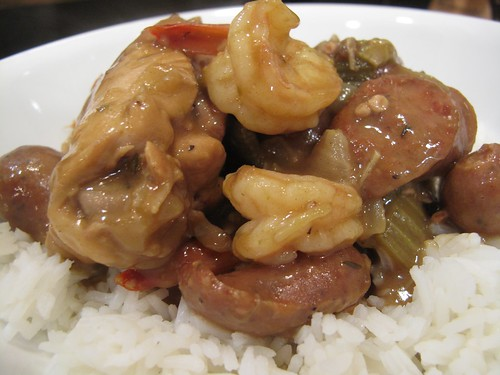 chicken sausage and shrimp gumbo