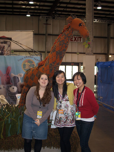 At the Lion Brand Booth: Liz, Nat (of Craft Magazine), and Zontee
