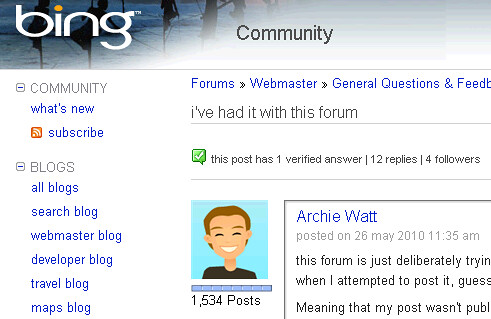 Bing Forum Frustration