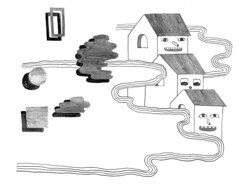 houses (rand rand renfrow renfrow) Tags: houses pencil happy waves faces shapes