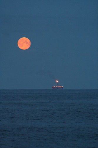 Full moon in the North Sea.