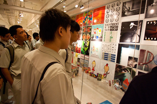 Pasir Ris Sec Students viewing artwork from TP Design School