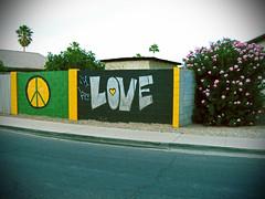 Peace Love and Flowers (Ms. Phoenix) Tags: pink flowers arizona love phoenix graffiti mural peace symbol westside oleander ese 602 loveonthewestside peaceloveandflowers causeyouonthewestside