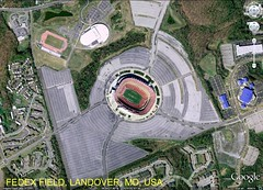 FedEx Field, Landover, MD, surrounded by pavement (via Google Earth)