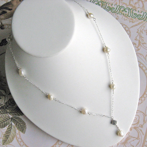 Pearl Y Necklace with Celtic Knot