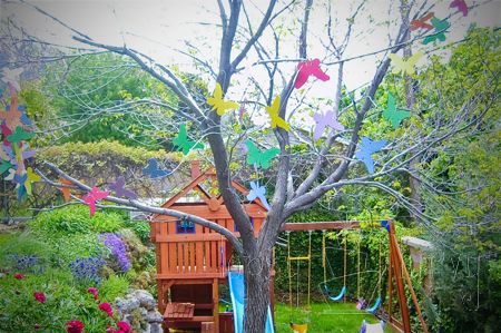 birthday party garland rainbow butterflies