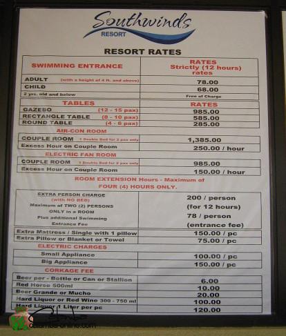 Southwinds Resort Pansol Laguna Rates