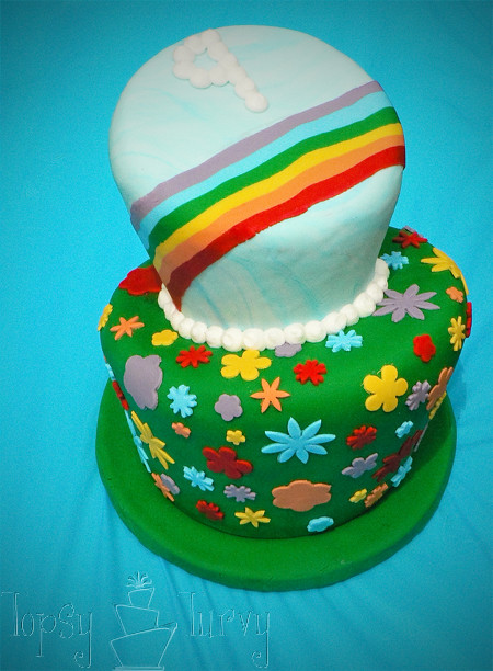 rainbow garden birthday party cake topsy turvy top view