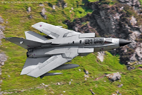 ZA556 Tornado Swept Wings Low Flying Aircraft in the Mach Loop in Wales