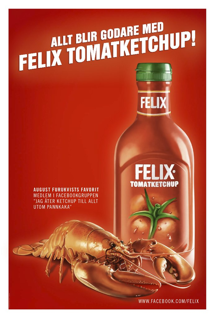 Hummer med Felix tomatketchup, annonsering utomhus
