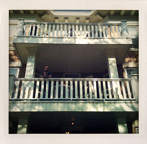 Aidan on the balcony
