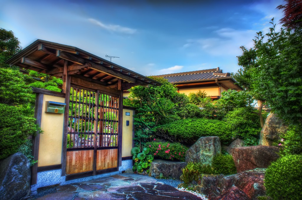 Japanese Traditional Houses House Gate And Japanese Garden