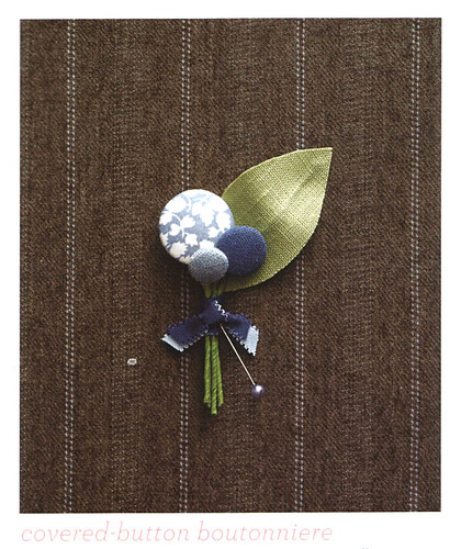 Covered button boutonniere