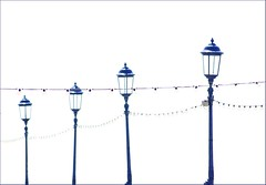 Blue lamps (haberlea) Tags: blue white lamp whitebackground eastbourne lamps onwhite eastbournepier againstthewhite