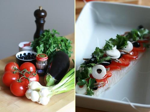 Légumes d'été & filet de poisson farci