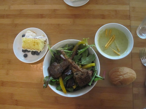 Cream of asparagus, salad with lamb chops, roll, coconut cake - $6