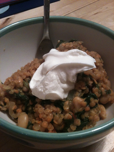 Curried red lentils with chard and beans