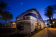 Train 589 under the Moon (K-Szok-Photography) Tags: california color night train canon outdoors lowlight nightimages nightshot trains socal amtrak transportation nights nightshots nightsky canondslr fullerton locomotives railroads emd passengerterminal fullertoncalifornia f59phi amtk alltrains traindepots adifferentpointofview trainsatnight travelbytrain commutertrains amtrk canon1740f4lusmgroup californiafullerton alltypesoftransport kenszok