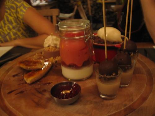 Shared dessert platter