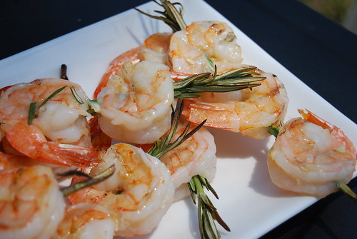 Grilled shrimp on rosemary