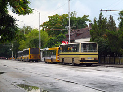 Начална спирка при ЖП гара Перник 2007 г. Terminus at railway station Pernik Bulgaria