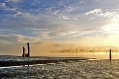 Pitt River Morning 3 (showbizinbc) Tags: mist fog sunrise river golden britishcolumbia mapleridge portcoquitlam pittriver pittmeadows mistymorning superaplus aplusphoto platinumheartaward winnr