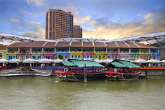 Moored Chinese Junks at Clarke Quay along Singapore River - HDR (David Gn Photography) Tags: travel sky tourism architecture clouds boats waterfront restaurants historic esplanade shops pubs nightclubs hdr clarkequay singaporeriver tileroof scenicview colorfulhouses 3xp rivercruises canoneos7d sigma1020mmf35exdchsm mooredchinesejunk rivertaxies