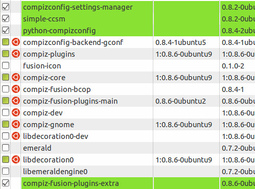 Figura 1 - Installazione Gestore configurazione di Compiz.