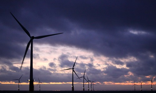 Thanet Offshore Windfarm at dusk.