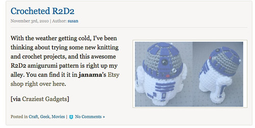 Crocheted R2D2 for geekcrafts