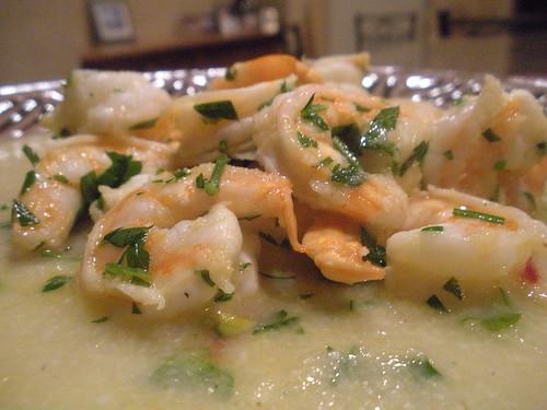 Sweet shrimp with soft polenta
