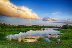 Rainbow Fisherman (Kansas Poetry (Patrick)) Tags: rainbow lake wetlands patdawsonnaturecenter lawrencekansas kansas patrick emerson patrickemerson patricklovesnancy
