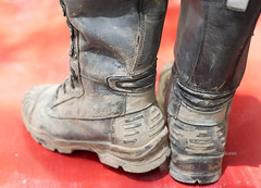 Boots close up (MudboyUK) Tags: muddyboots workboots bataboots tradieboots dirtyboots usedboots boots leastherboots highlegboots calfhighboots tradie dirty muddy
