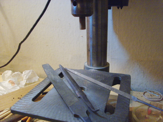 Dowel chucked in Drill Press
