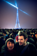 Wilson and Euan (TGKW) Tags: new city boy portrait people man paris tower hat lights year snapshot crowd chinese posed eiffel celebrations wilson euan 2010 4379