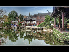 Lan Su Chinese Garden Portland Oregon - HDR (David Gn Photography) Tags: park city reflection architecture oregon portland pagoda pond downtown chinatown oldtown hdr portlandclassicalchinesegarden canonpowershotsx1is lansuchinesegarden