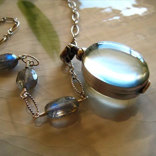 Hali'a Aloha - Sterling silver glass locket and labradorite necklace