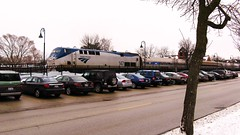 Northbound Amtrak Hiawatha arriving in Glenview Illinois. January 2010.