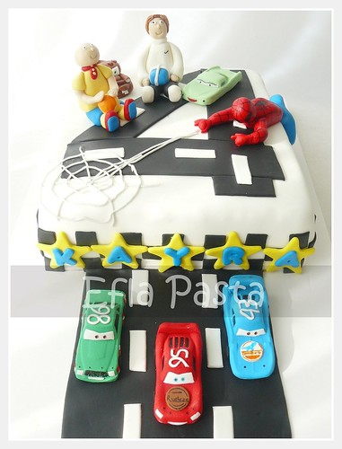 mc queen and spider man cake