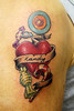 candy heart and scroll Tattooed by Johnny